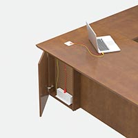 Doors Increases Access Single pedestal desks provide a visitor-side door that opens into an access area