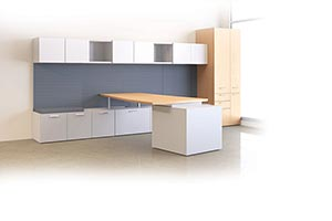 Layered L-unit in Clear Maple laminate and Platinum laminate with Angle edge and Waterfall pulls