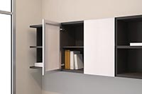 Tall hanging shelves turn wall space into a variety of storage space