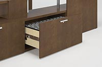 Low-storage units offer lateral files that open to the