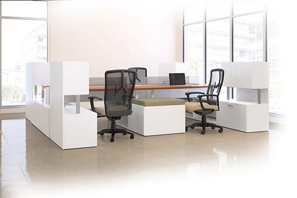 Mingle Layered 4 person station in White laminate with Angle edge and Keyhole pulls