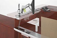 Bi-level Zones Double Capabilities Zones at worksurface height that intersect with Zones at low storage height provide cord management and accessory mountings at two levels. This bi-level capability increases capabilities for storage, docking or recharging.