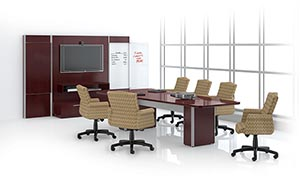 Overture 10' video conference top in NT trim with quarter bullnose edge and coordinating base, shown in Cordovan Cherry