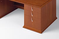 Drawer pulls, wood base moldings and top edges express the unique character of Prominence.