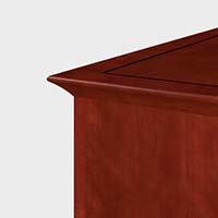 Surrounding Prominence tops are distinctively styled solid wood edges that echo the flare of the base molding.