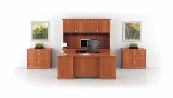 Prominence Executive Desk with Center Drawer, Keyboard Credenza, Upper Bookcase with Organizer and Two-Drawer Lateral Files