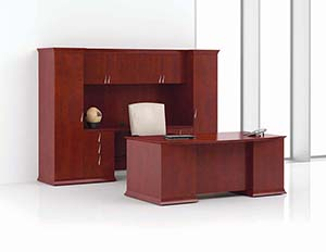 Prominence Scallop Bow Top Executive Desk and Open Credenza/Wardrobe Unit with Upper Bookcase. Angled view