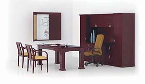 Prominence Scallop Bow Top Executive Table Desk, Closed Credenza/Wardrobe Unit with Upper Bookcase and Presentation Board