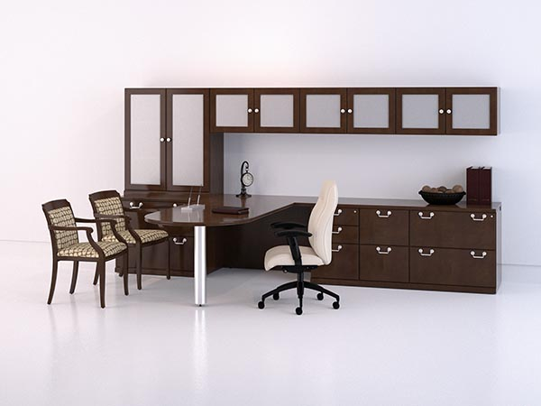 "Executive ""D"" top conference table ""L"" desk with file drawer pedestal, two lateral pedestal with storage hutch and hanging overhead storage with frosted glass panels."