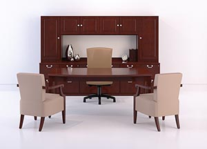Traditional table desk suite with storage credenza and storage tower cabinets and hanging overhead door storage.