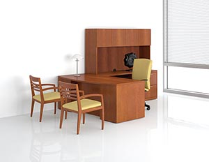 Revival single pedestal desk with bow top, executive height multi-file return and upper bookcase