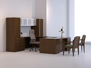 "Executive ""U"" desk with pedestal storage towers, overhead hanging storage cabinet with aluminum doors and frosted panels."
