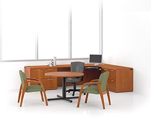 Revival corner unit, executive height multi-file return, lateral file and round table