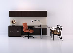 """P"" top conference table ""L"" desk with multi-file and overhead storage with wood doors."