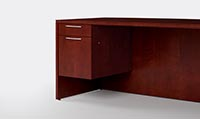 Three quarter pedestals, with one box drawer and one file drawer, makes it easier to clean floors under desks.