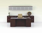 Modern executive bow front desk, file credenza and overhead storage with aluminum frosted panel doors