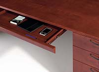 Center drawers are available in three widths. Wood pencil trays are included.