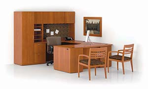Revolve Executive Task Unit with Bow Top, Single Wardrobe and Upper Bookcases. With Tackboard. Shown in Golden Cherry with Reeded edge and Cable pulls in Matte Chrome