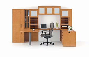 Revolve Key Hole Top with Drum Base, Rectangular Return Surface, Executive Height Multi-File Return, Organizer Wardrobe, Open Storage, Upper Bookcases, Hanging Cabinet and Modular Cabinet Tops. Shown in Honey Maple with Crescent edge and Bead pulls in Matte Black