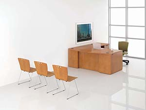 Revolve Executive Task Unit with Bow Top. Shown in Honey Maple with Cove edge and Slot pulls in Matte Black front view
