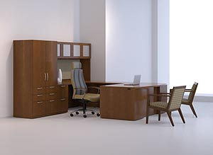 """Executive bow front """"U"""" desk with frosted panel door storage hutch, tack board and pedestal storage cabinet."""