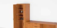 Organizer wardrobes show Revolve's ability to store more in a smaller space.