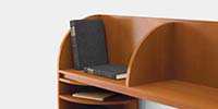 Wood letter trays add paper management capabilities.