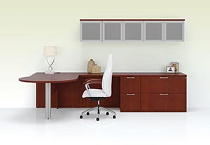 Ignite L Unit With P Top Shown In Light Cherry Reveal Edge And Wing Pulls Matte Chrome R5 High Back Chair Brisa White Upholstery